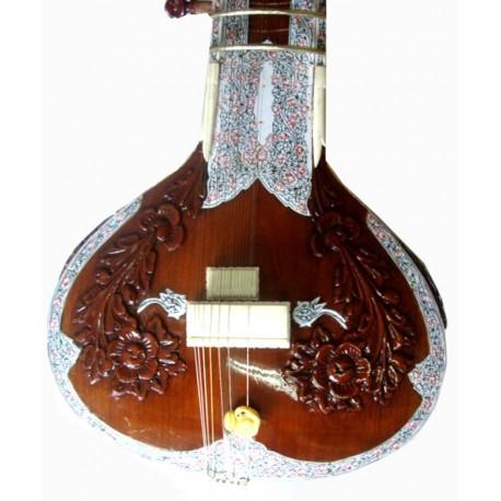 Carved Ravi Shankar Double Resonator SITAR with Fiberglass Case.