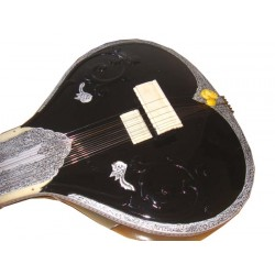 Beautifully Decorated Black Electric-Acoustic Flat Fusion SITAR. Pro-Grade Studio Version