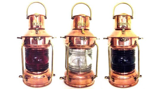 Copper Nautical Lamps. Port, Starboard, NUC.
